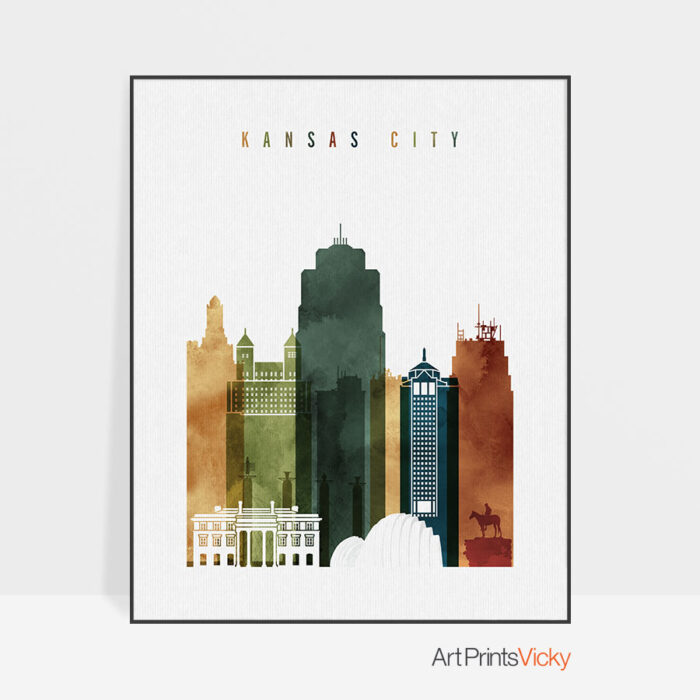 Kansas City skyline print watercolor 3