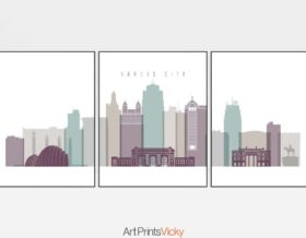 Kansas City skyline set of 3 prints pastel 2