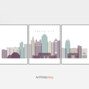 Kansas City set of 3 prints pastel 2