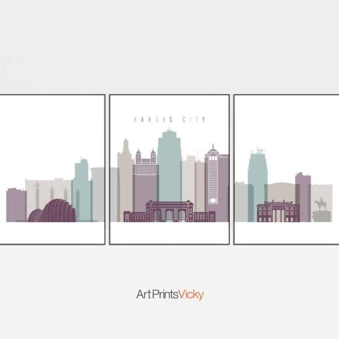 Kansas City set of 3 prints pastel 2