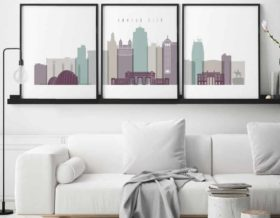 Kansas City skyline set of 3 prints pastel 2 second