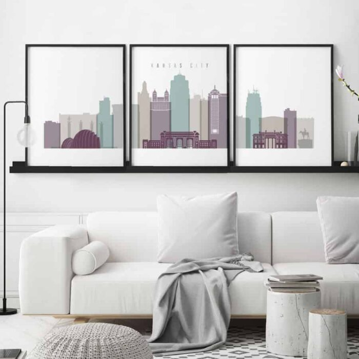 Kansas City skyline set of 3 prints pastel 2 second