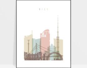 Kiev skyline art print pastel white
