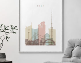 Kiev skyline art print pastel white second