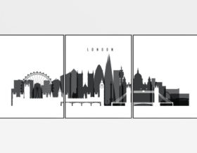 London wall art set of 3 prints black and white