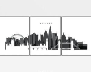 London wall art set of 3 prints black and white
