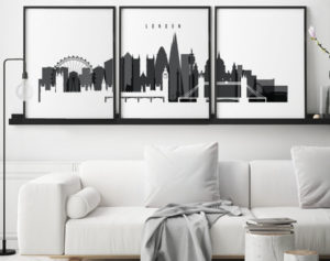 London wall art set of 3 prints black and white second