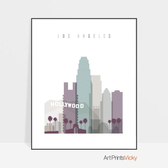 Los Angeles skyline print pastel 2