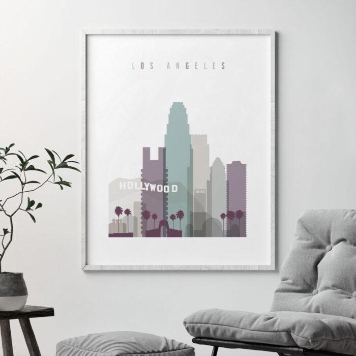 Los Angeles skyline print pastel 2 second
