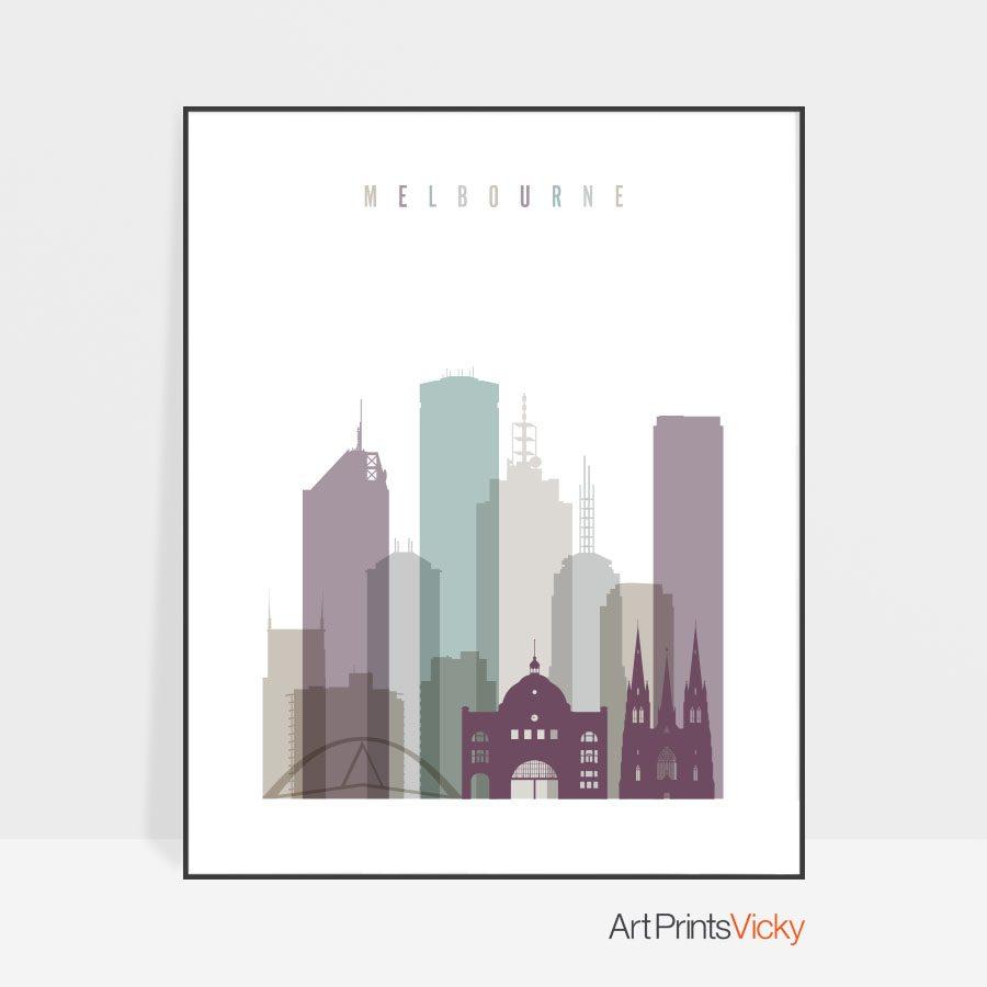Melbourne skyline poster pastel 2