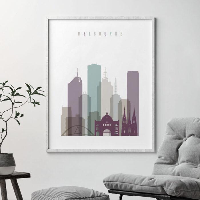 Melbourne skyline poster pastel 2 second