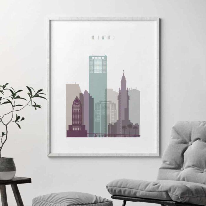 Miami skyline print pastel 2 second