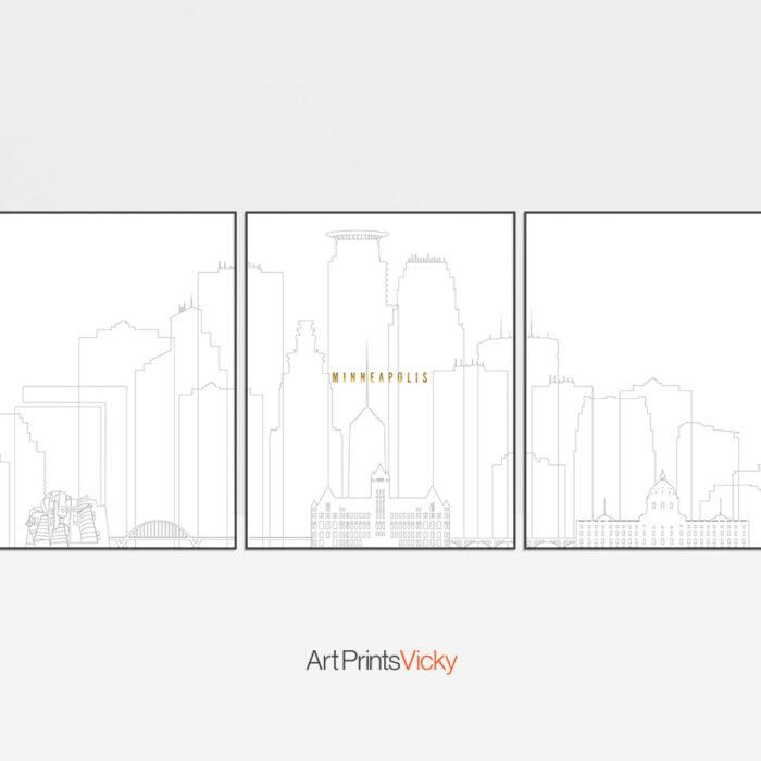 Minneapolis triptych wall art grey gold