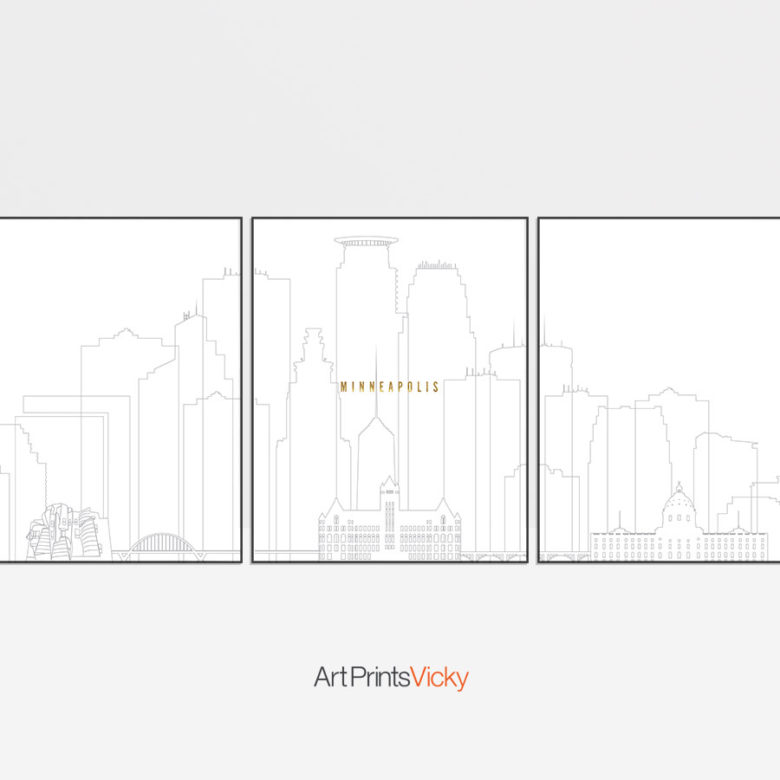 Minneapolis triptych wall art grey gold