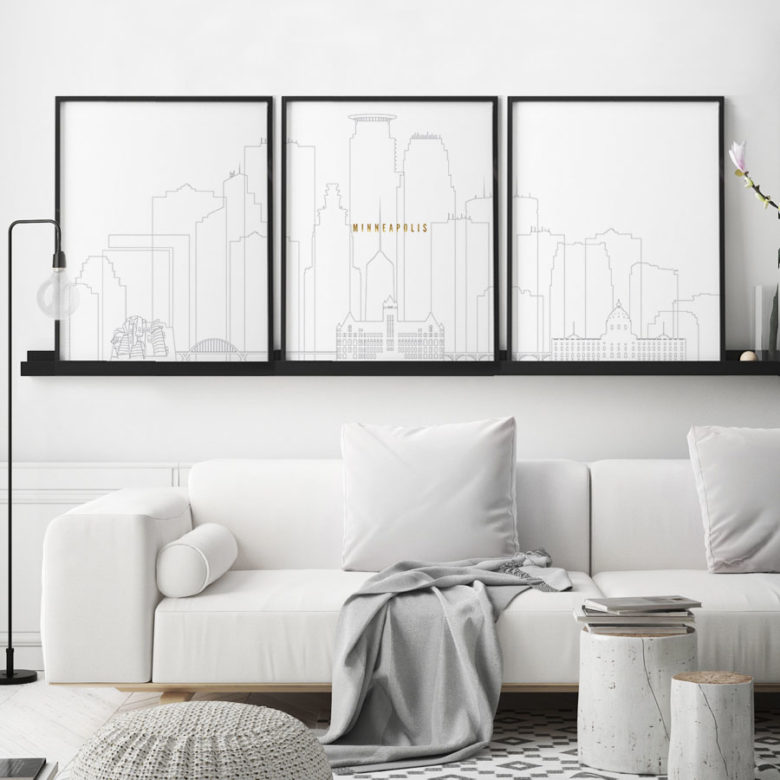 Minneapolis triptych wall art grey gold second