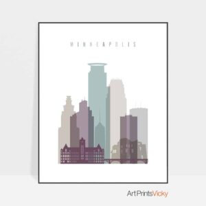 Minneapolis skyline print pastel 2