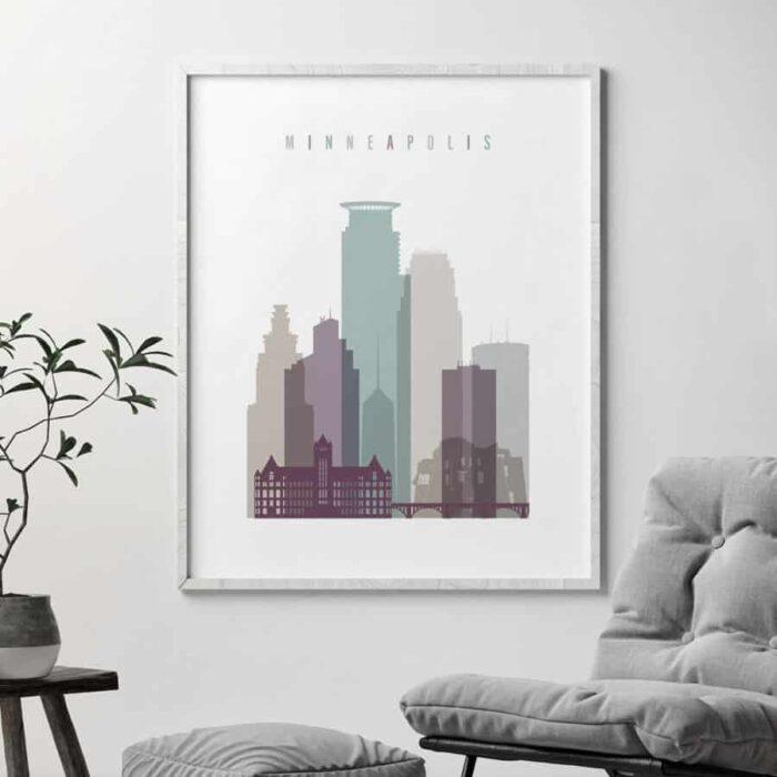 Minneapolis skyline print pastel 2 second