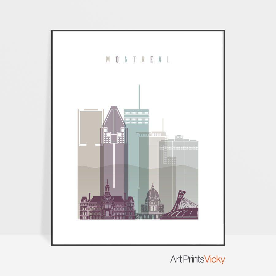 Montreal skyline poster pastel 2