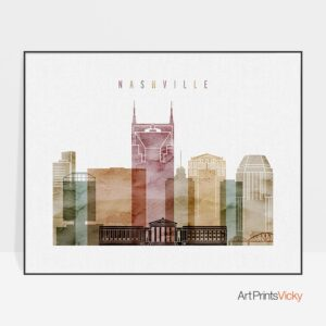 Nashville poster landscape watercolor 1