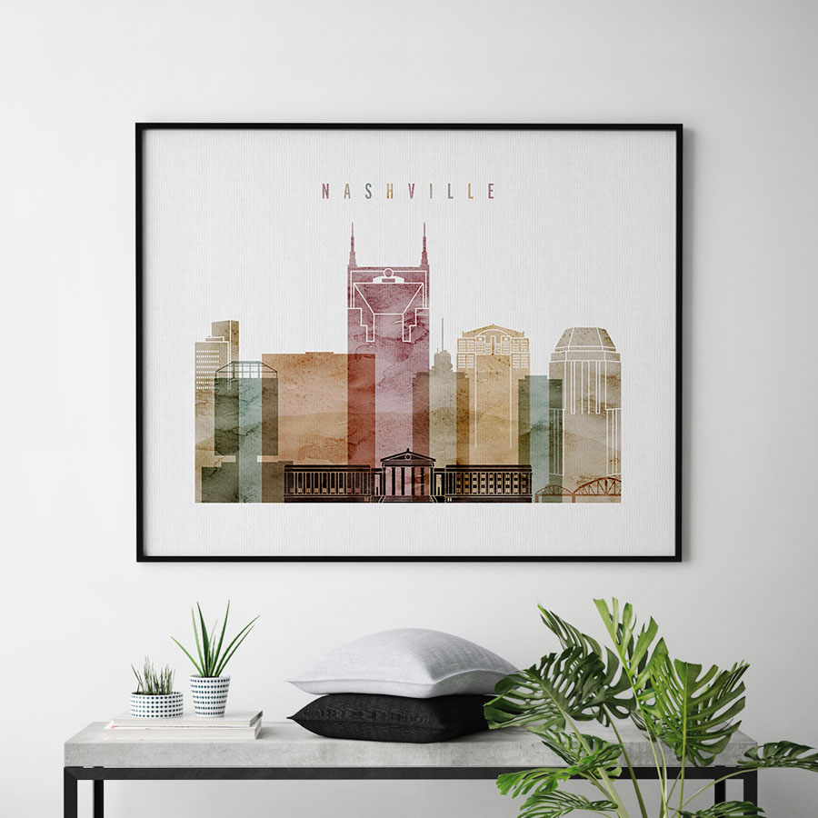 Nashville poster landscape watercolor 1 second