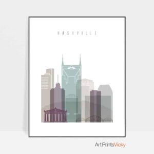 Nashville skyline print pastel 2