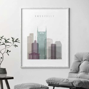Nashville skyline print pastel 2 second