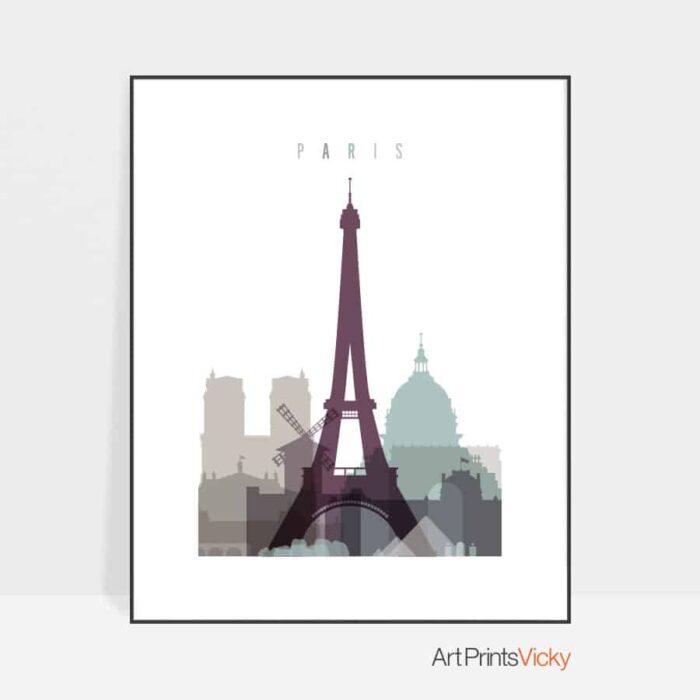 Paris skyline poster pastel 2