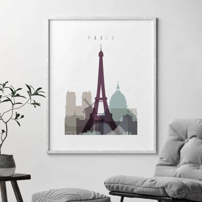 Paris skyline poster pastel 2 second