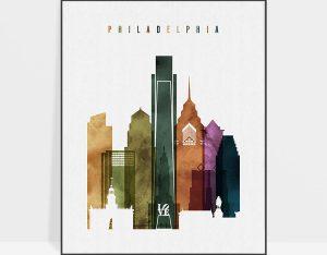 Philadelphia skyline print watercolor 3