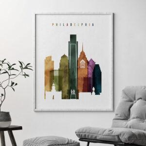 Philadelphia skyline print watercolor 3 second