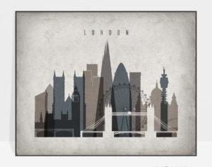 London art print landscape retro