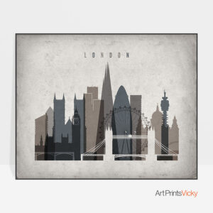 London art print landscape retro