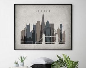 London art print landscape retro second