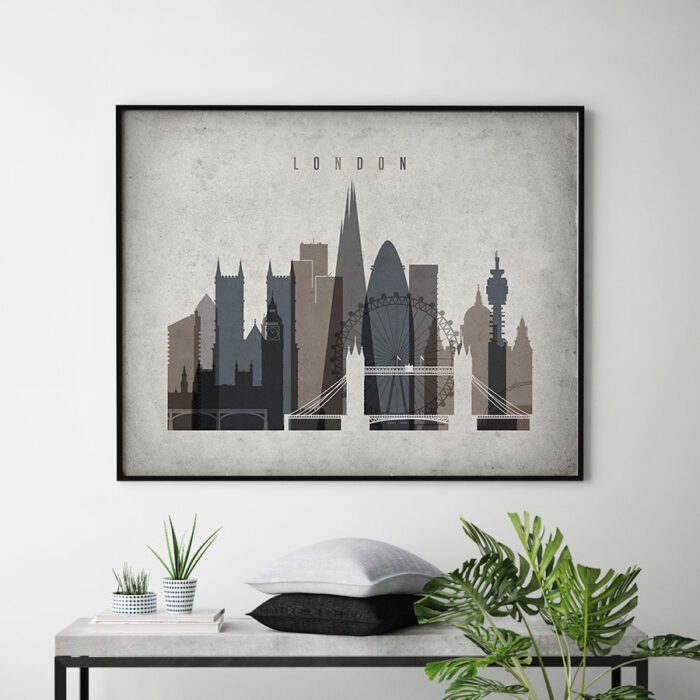 London art print landscape retro second