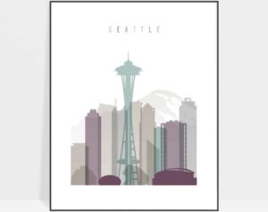 Seattle skyline print pastel 2