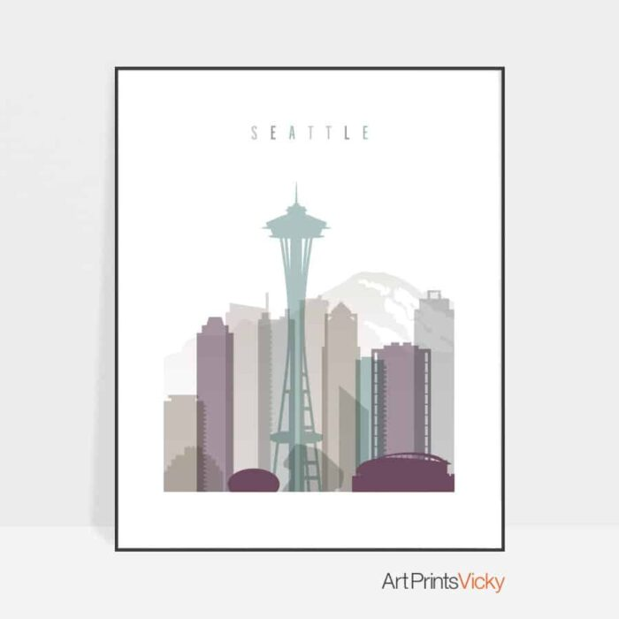 Seattle skyline print pastel 2