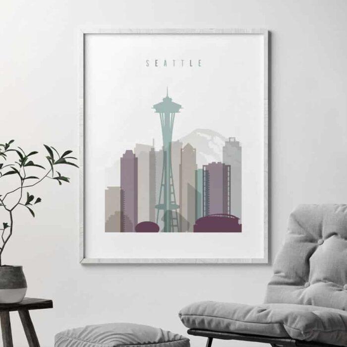 Seattle skyline print pastel 2 second