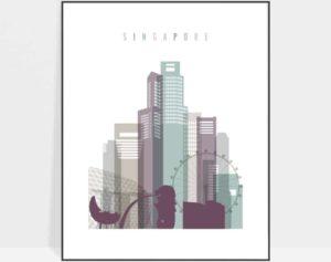 Singapore skyline poster pastel 2