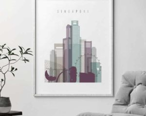 Singapore skyline poster pastel 2 second