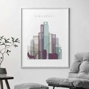 Singapore skyline poster pastel 2 second