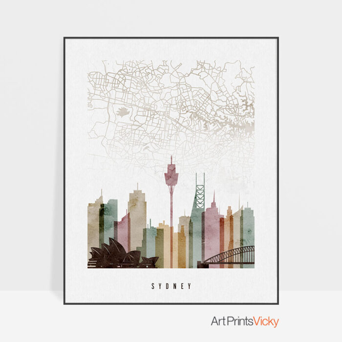 Sydney map skyline poster watercolor 1