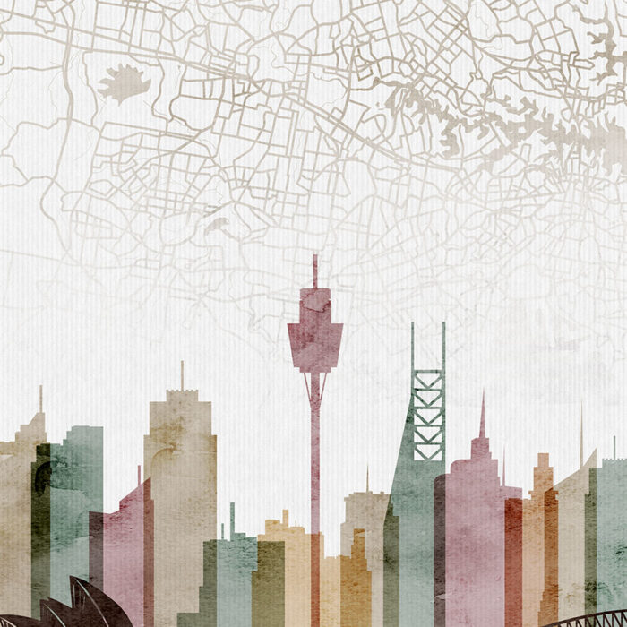 Sydney map skyline poster watercolor 1 detail