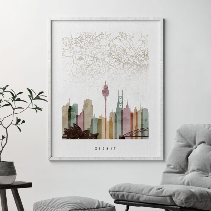 Sydney map skyline poster watercolor 1 second