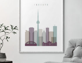 Toronto skyline poster pastel 2 second