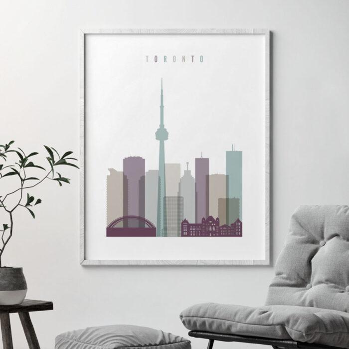 Toronto skyline poster pastel 2 second