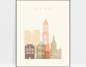 Utrecht skyline poster pastel cream