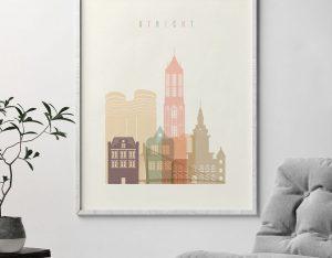 Utrecht skyline poster pastel cream second