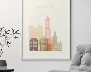 Utrecht skyline poster pastel cream second
