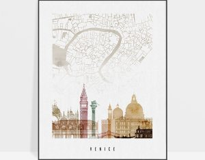 Venice map skyline poster watercolor 1