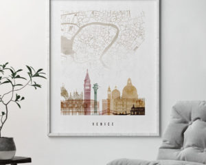 Venice map skyline poster watercolor 1 second
